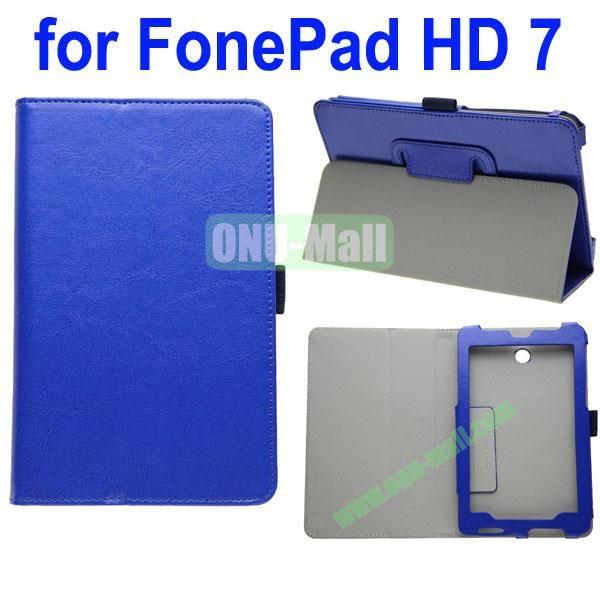 Crazy Horse Texture Leather Case for Asus FonePad HD 7ME372 (Dark Blue)