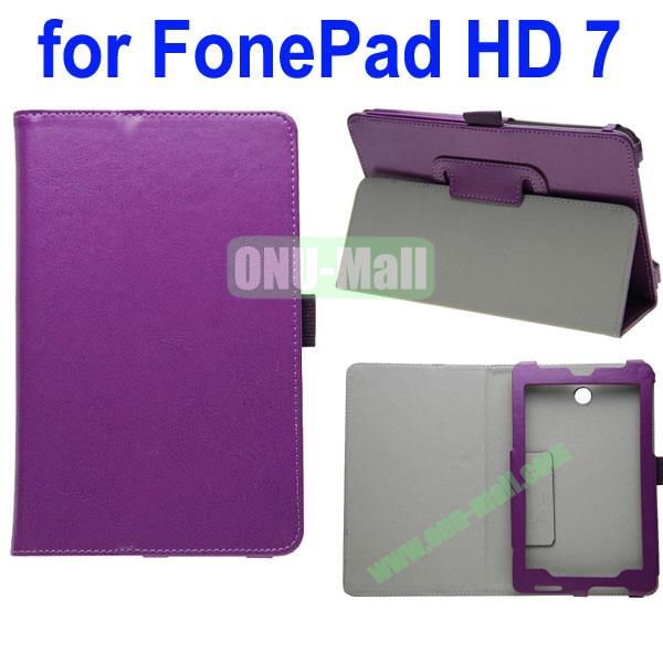 Crazy Horse Texture Leather Case for Asus FonePad HD 7ME372 (Purple)