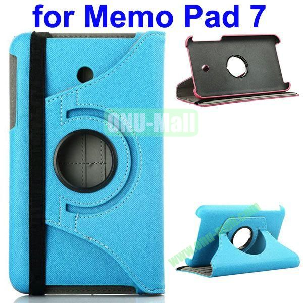 360 Degree Rotating  Denim Texture Leather Case for Asus MeMO Pad 7 ME176CX (Blue)