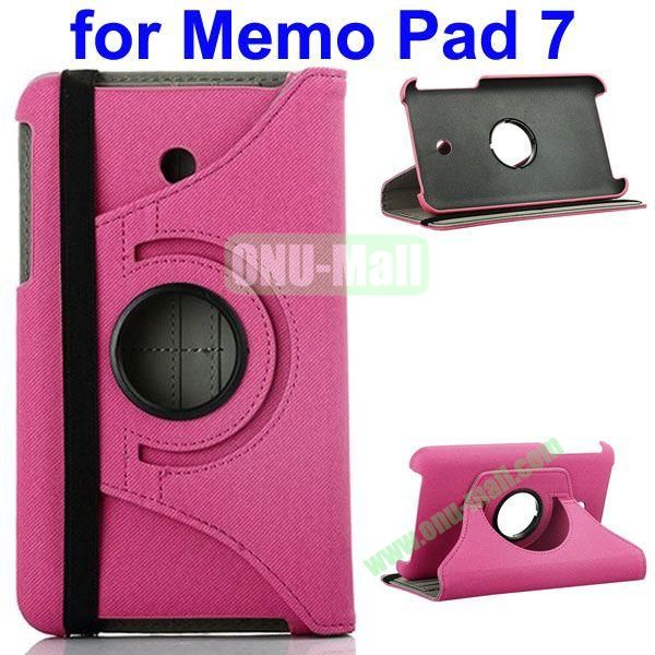 360 Degree Rotating  Denim Texture Leather Case for Asus MeMO Pad 7 ME176CX (Rose)