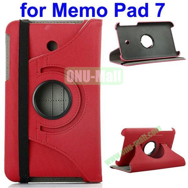 360 Degree Rotating  Denim Texture Leather Case for Asus MeMO Pad 7 ME176CX (Red)