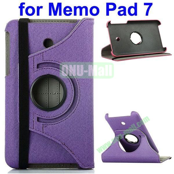 360 Degree Rotating  Denim Texture Leather Case for Asus MeMO Pad 7 ME176CX (Purple)