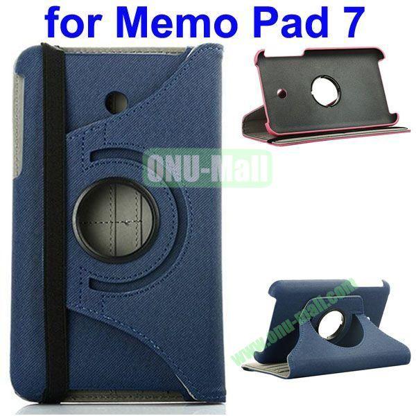 360 Degree Rotating  Denim Texture Leather Case for Asus MeMO Pad 7 ME176CX (Dark Blue)