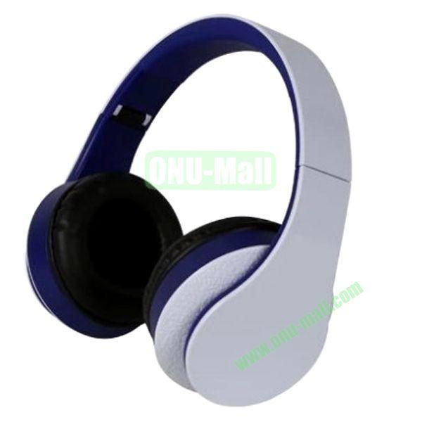 High Quality Simple and Plain Style Foldable Stereo Headband Headset Headphone (White+Purple)