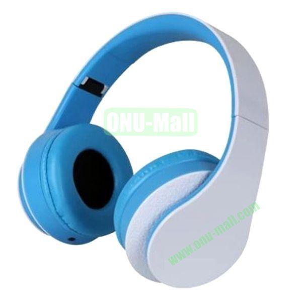 High Quality Simple and Plain Style Foldable Stereo Headband Headset Headphone (White+Blue)