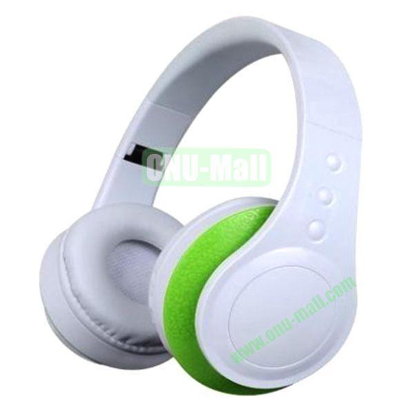 High Quality Simple and Plain Style Foldable Stereo Headband Headset Headphone (White+Green)