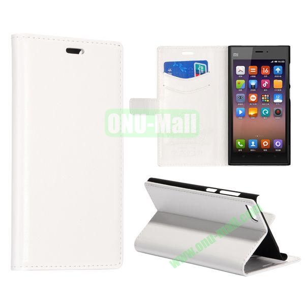 Crazy Horse Texture Flip Leather Case for Miui MI3 with Card Slots and Stand (White)