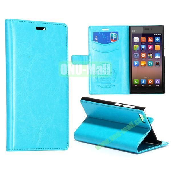 Crazy Horse Texture Flip Leather Case for Miui MI3 with Card Slots and Stand (Blue)
