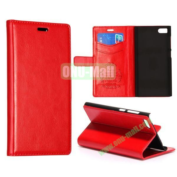 Crazy Horse Texture Flip Leather Case for Miui MI3 with Card Slots and Stand (Red)