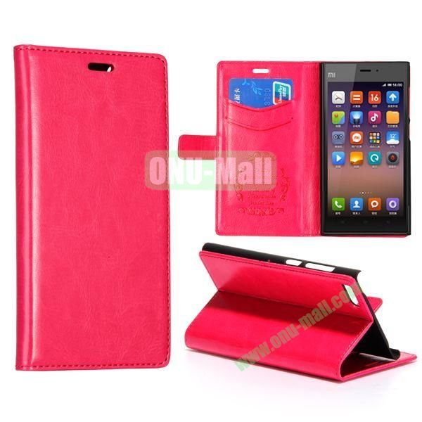 Crazy Horse Texture Flip Leather Case for Miui MI3 with Card Slots and Stand (Pink)