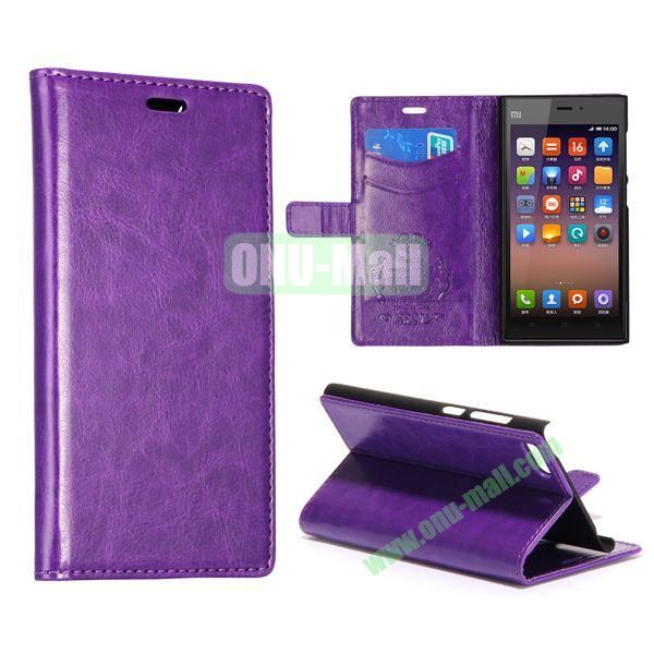 Crazy Horse Texture Flip Leather Case for Miui MI3 with Card Slots and Stand (Purple)