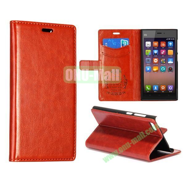 Crazy Horse Texture Flip Leather Case for Miui MI3 with Card Slots and Stand (Coffee)