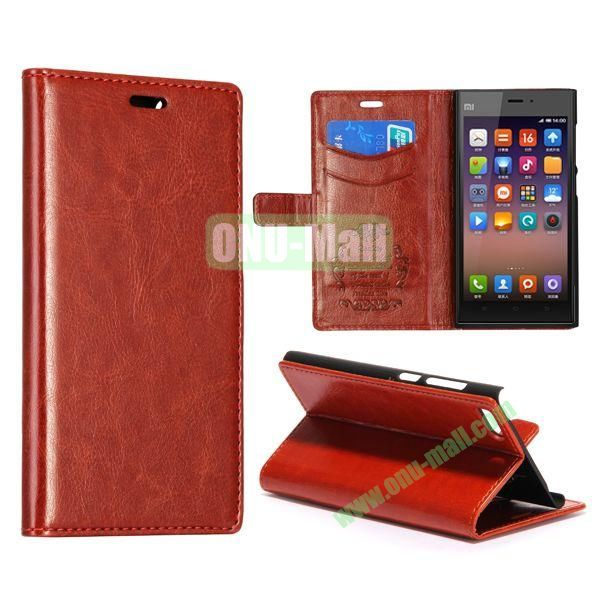 Crazy Horse Texture Flip Leather Case for Miui MI3 with Card Slots and Stand (Brown)