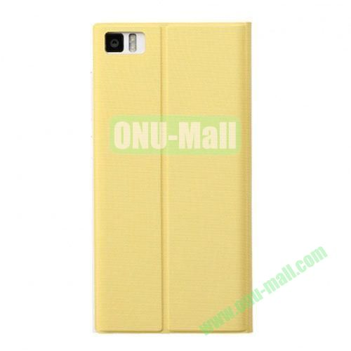 Fashion Ultrathin Official Removable Flip Stand Leather Case for Miui MI3 (Yellow)