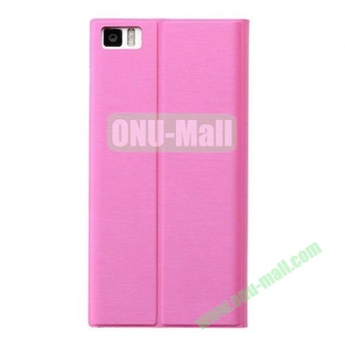 Fashion Ultrathin Official Removable Flip Stand Leather Case for Miui MI3 (Pink)