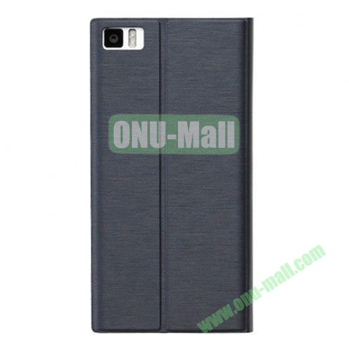 Fashion Ultrathin Official Removable Flip Stand Leather Case for Miui MI3 (Black)