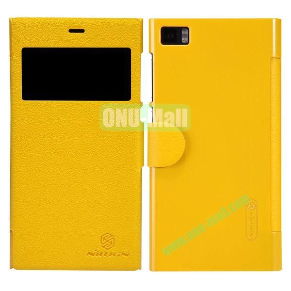 Nillkin Fresh Series Fashion Flip Leather Cover Case for MIUI MI3 with Caller ID Display Window (Yellow)