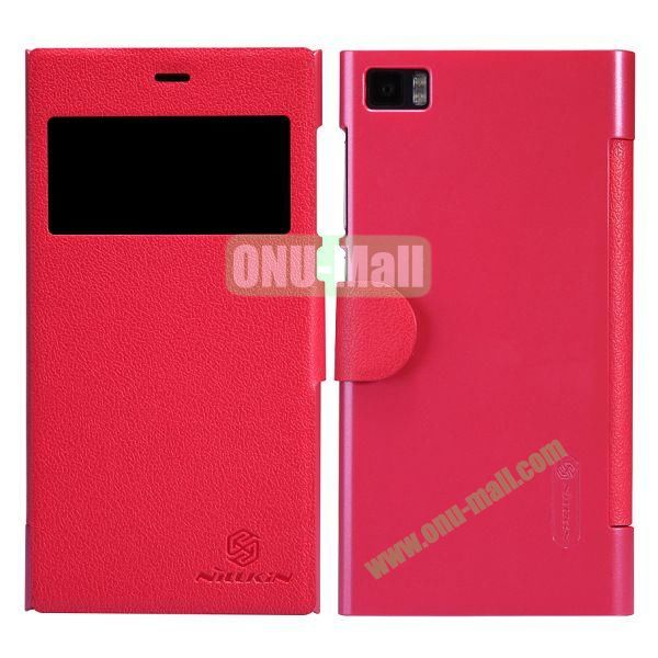 Nillkin Fresh Series Fashion Flip Leather Cover Case for MIUI MI3 with Caller ID Display Window (Red)