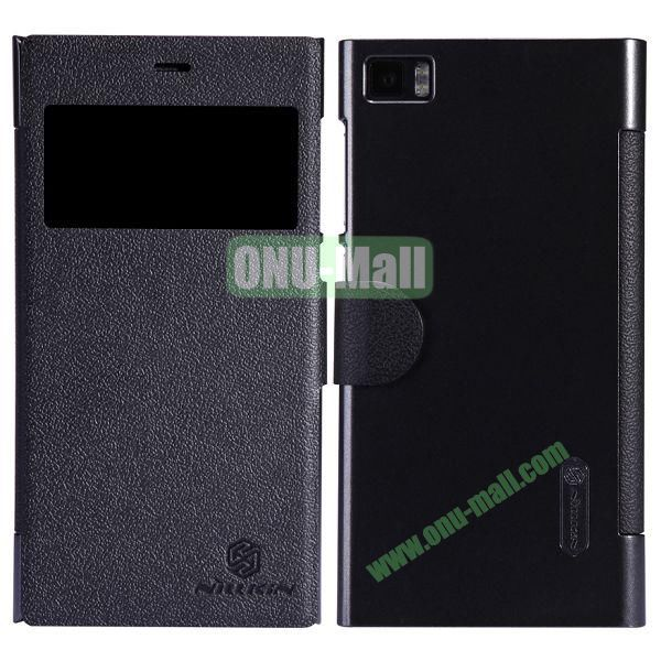 Nillkin Fresh Series Fashion Flip Leather Cover Case for MIUI MI3 with Caller ID Display Window (Black)