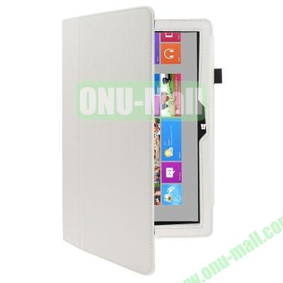 Litchi Texture Stand Leather Case for Microsoft Surface RT with Wake-up Function (White)