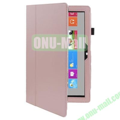 Litchi Texture Stand Leather Case for Microsoft Surface RT with Wake-up Function (Pink)