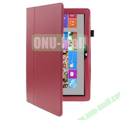 Litchi Texture Stand Leather Case for Microsoft Surface RT with Wake-up Function (Magenta)
