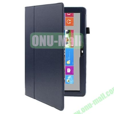 Litchi Texture Stand Leather Case for Microsoft Surface RT with Wake-up Function (Dark Blue)
