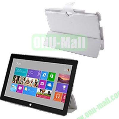 3-Folio Linen Finish Texture Leather Case for Microsoft Surface RT with Sleep Function (White)