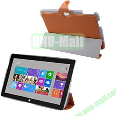 3-Folio Linen Finish Texture Leather Case for Microsoft Surface RT with Sleep Function (Orange)