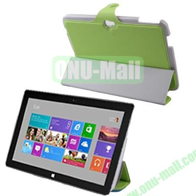3-Folio Linen Finish Texture Leather Case for Microsoft Surface RT with Sleep Function (Light Green)