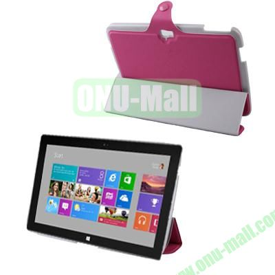3-Folio Linen Finish Texture Leather Case for Microsoft Surface RT with Sleep Function (Magenta)