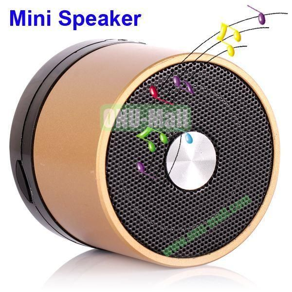 Mini Round Singing Table Speaker Support SD Card (Gold)