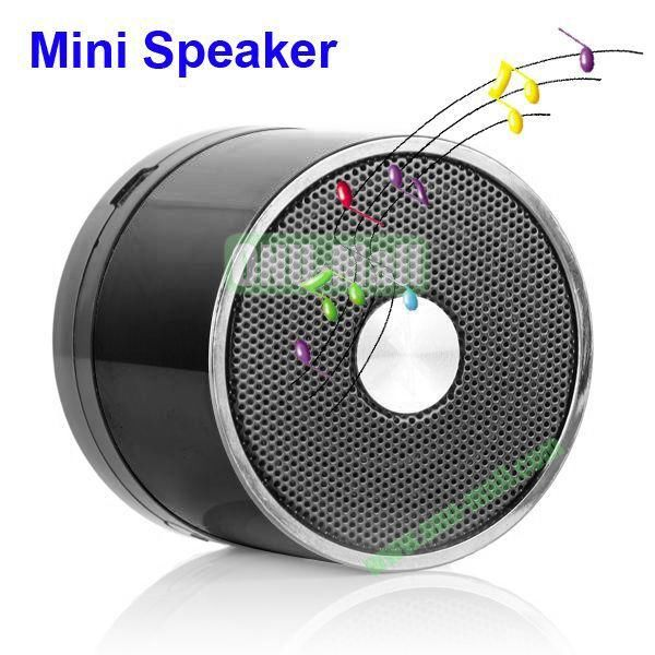 Mini Round Singing Table Speaker Support SD Card (Black)