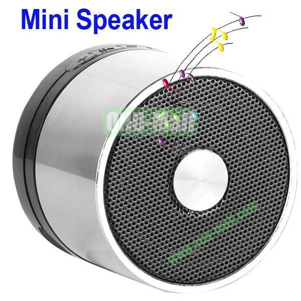 Mini Round Singing Table Speaker Support SD Card (Silver)
