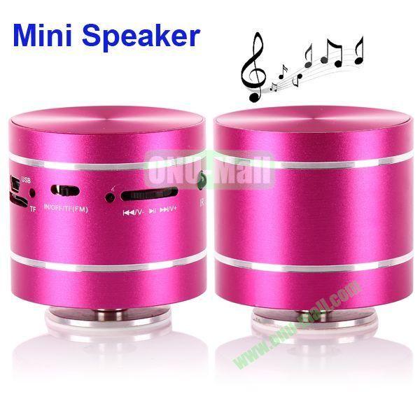 USBTF Card Mini Round Singing Table Speaker with FM Radio (Rose)