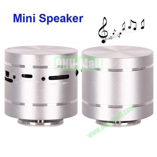 USBTF Card Mini Round Singing Table Speaker with FM Radio (Silver)