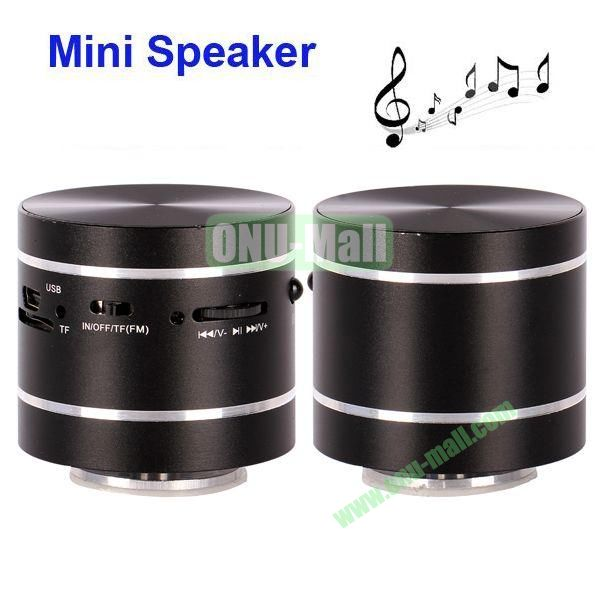 USBTF Card Mini Round Singing Table Speaker with FM Radio (Black)