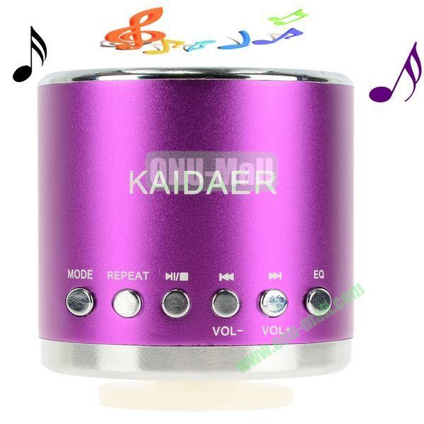 Portable Mini Music SD USB Speaker FM for PC Mobile Phone MP3 MP4 PSP (Purple)