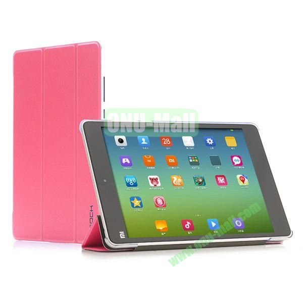 Rock Colorful Series Smart Wake Sleep Design 3-folding Flip Stand PU Leather Case for MIUI Mi Pad Xiaomi 7.9 Tablet (Rose)