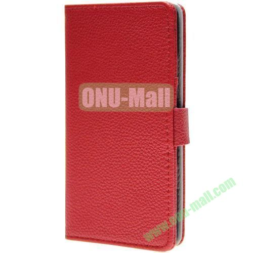Litchee Horse Texture Wallet Pattern Leather Case for Nokia Icon 929 with Card Slots (Red)