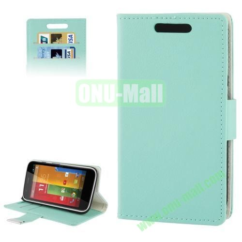 Flip Leather Case for Motorola Moto GXT1032 with Credit Card Slots & Holder (Light Blue)