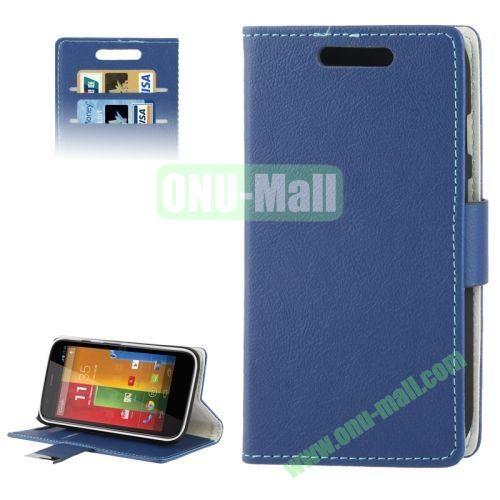 Flip Leather Case for Motorola Moto GXT1032 with Credit Card Slots & Holder (Dark Blue)