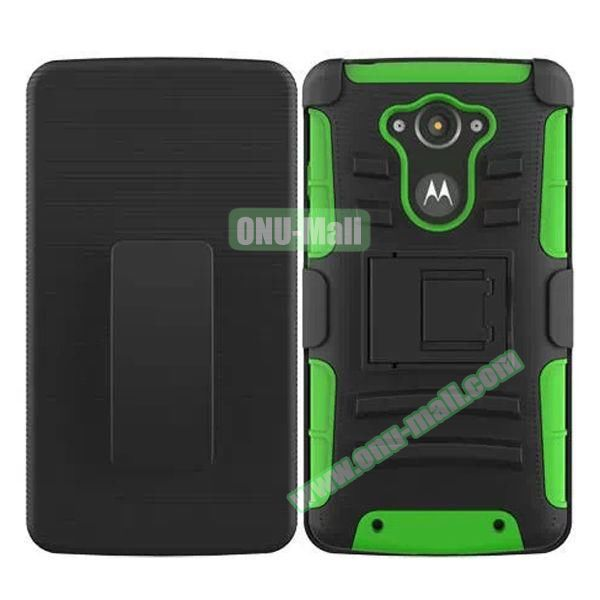 3-in-1 Hybrid Kickstand Rugged Protective Case for Motorola Droid Turbo XT1254 (Green)