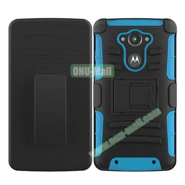 3-in-1 Hybrid Kickstand Rugged Protective Case for Motorola Droid Turbo XT1254 (Blue)