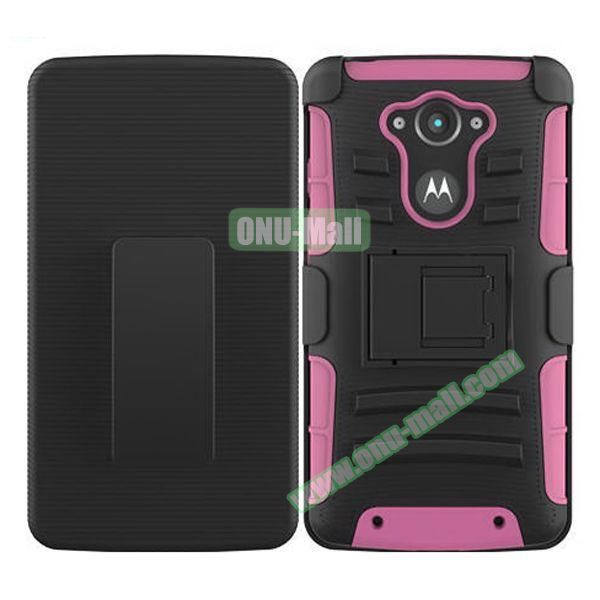 3-in-1 Hybrid Kickstand Rugged Protective Case for Motorola Droid Turbo XT1254 (Pink)