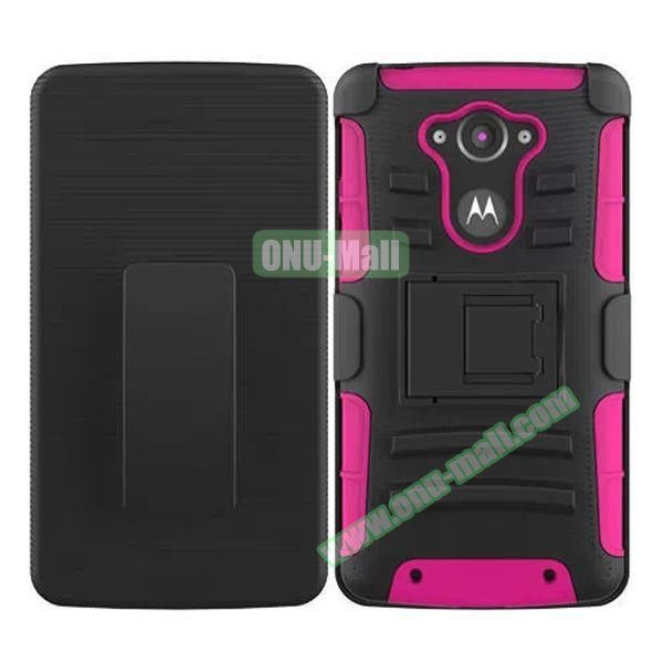 3-in-1 Hybrid Kickstand Rugged Protective Case for Motorola Droid Turbo XT1254 (Rose)
