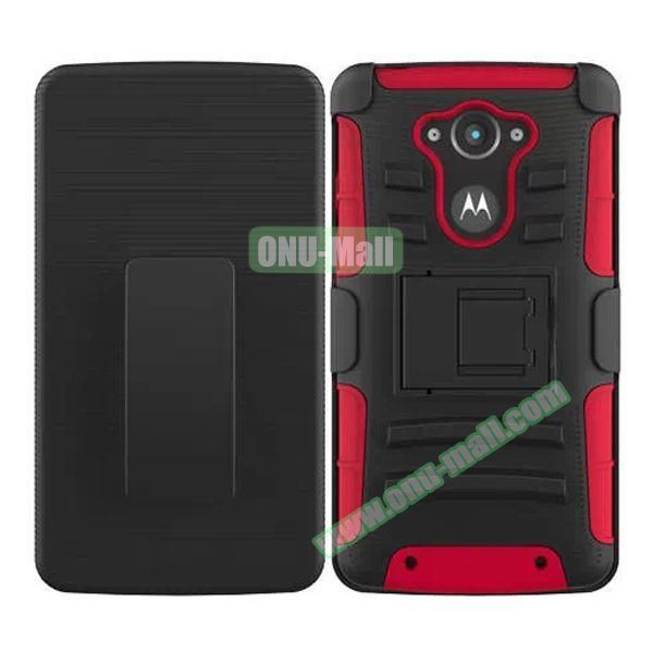 3-in-1 Hybrid Kickstand Rugged Protective Case for Motorola Droid Turbo XT1254 (Red)