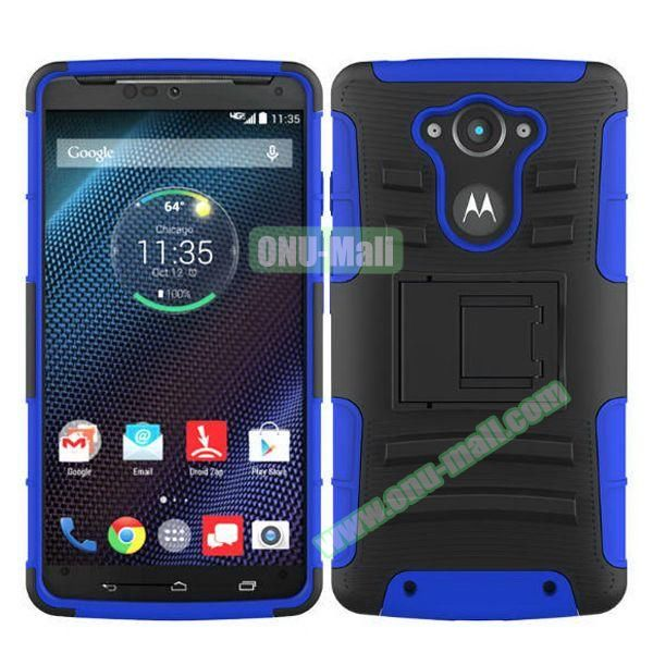 3-in-1 Hybrid Kickstand Rugged Protective Case for Motorola Droid Turbo XT1254 (Dark Blue)