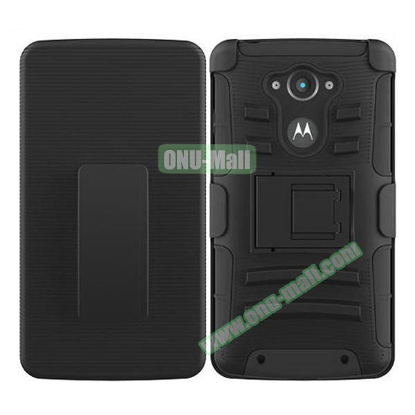 3-in-1 Hybrid Kickstand Rugged Protective Case for Motorola Droid Turbo XT1254 (Black)