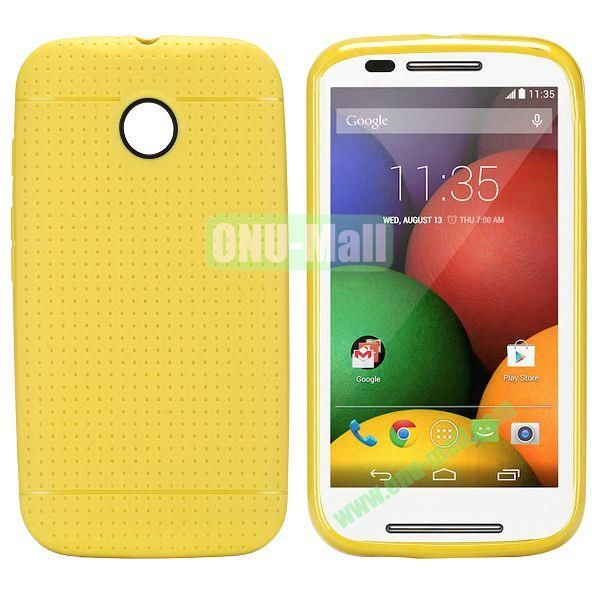 Mesh Design Durable TPU Case for Motorola Moto E XT1021 XT1022 (Yellow)